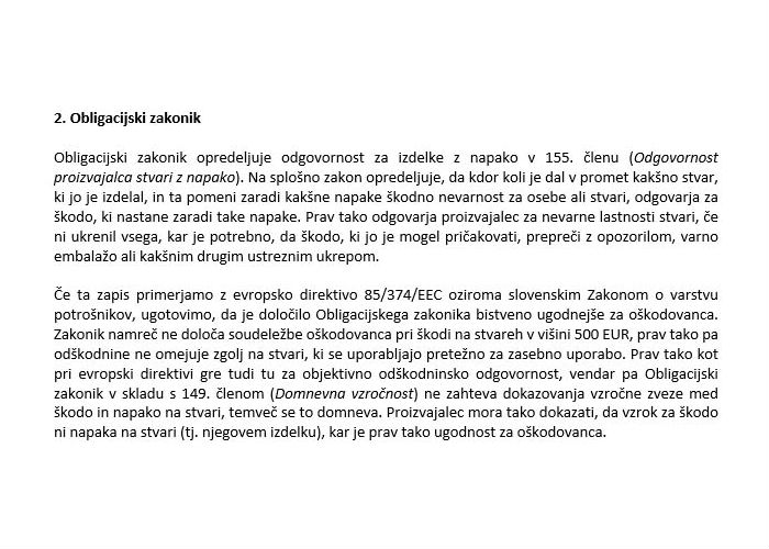 Poglavje 1 - Predpisi na področju odgovornosti za izdelke z napako (Slovenija - obligacijski zakonik)