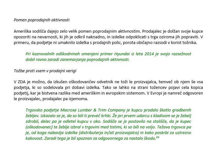 Poglavje 1 - Predpisi na področju odgovornosti za izdelke z napako (ZDA - Nekatere značilnosti sodne prakse)