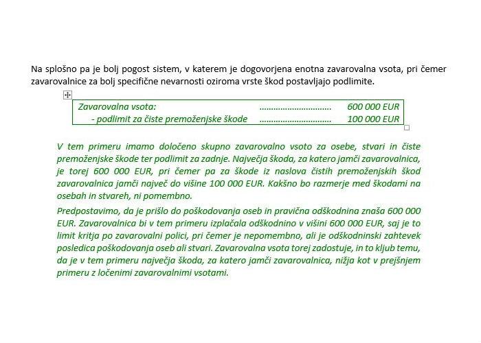 Poglavje 3 - Osnovni principi delovanja odgovornostnih zavarovanj (Zavarovalna vsota - Razlikovanje med zavarovalnimi vsotami in podlimiti zavarovalnih vsot)