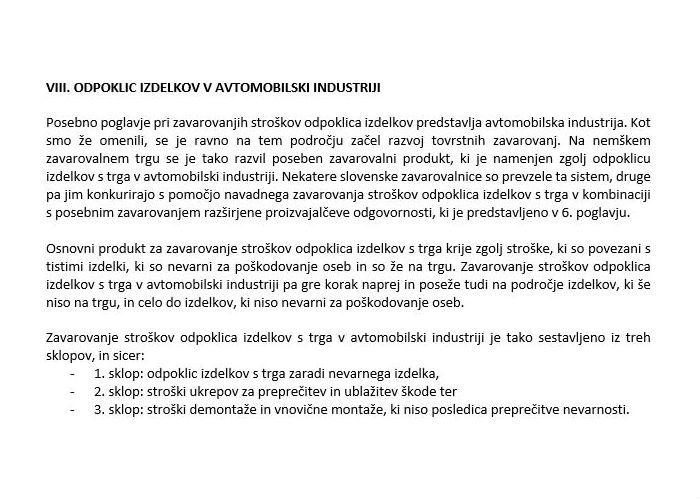 Poglavje 5 - Zavarovanje odpoklica izdelkov (Odpoklic izdelkov v avtomobilski industriji)