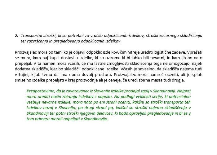 Poglavje 5 - Zavarovanje odpoklica izdelkov (Stroški, ki jih krije zavarovanje)