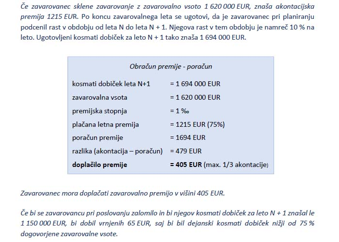 Poglavje 2 - Določanje ustrezne zavarovalne vsote (Klavzula o obračunu premije na osnovi akontacije in poračuna)