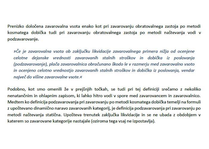 Poglavje 3 - Zavarovanje obratovalnega zastoja po metodi naštevanja (Tveganje podzavarovanja)